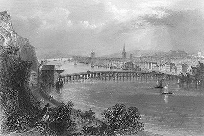 Ireland WATERFORD HARBOUR MUNSTER CATHEDRAL BRIDGE ~ 1839 Art Print Engraving