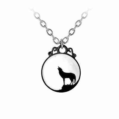 Alchemy Gothic Howling Wolf Full Moon White Enamel Pewter Pendant