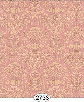 Miniature Dollhouse 1:12 Wallpaper Annabelle Mini Damask Red With Cream - 2738