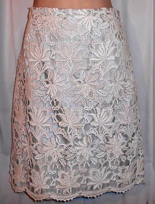 Ann Taylor Beautiful Ivory Floral Crochet Lace Summer Occasion Skirt Size 6
