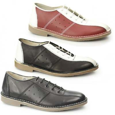 Ikon MARRIOTT Mens Casual Lace Up Genuine Leather Classic MOD Bowling Shoes