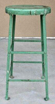 "Vintage 30"" All Metal Green Paint Industrial-Retro-Steampunk Stool /14"" Seat /NR"