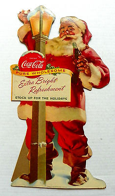 """1955 """"drink Coca-Cola In Bottles"""" Santa Holding A Toys Cardboard Stand Up Sign"""