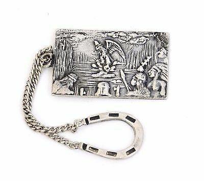 Antique Lopez Taxco STERLING SILVER Large Watch Key Fob Medieval Gothic Griffin