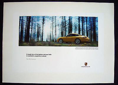 Porsche Official 911 996 Yellow Carrera Coupe Showroom Poster 2003-05