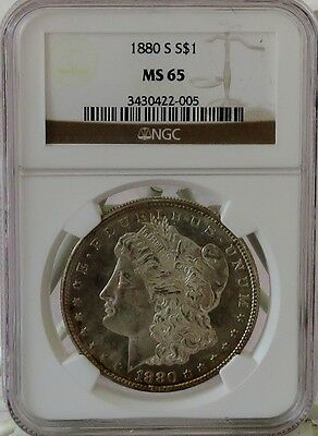 1880-S Morgan Silver Dollar $1 NGC MS65 * PL Look * Looks MS66 *