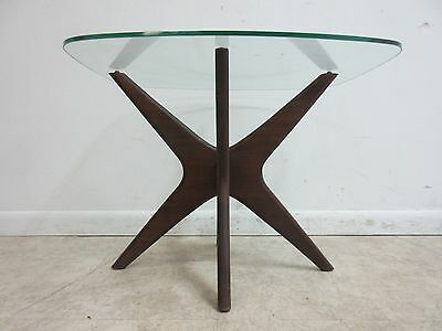 Vintage Adrian Pearsall X Base Walnut Glass Lamp End table Pedestal Mid Century