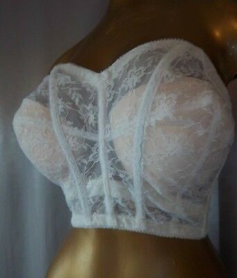VOLUPTUOUS Strapless Vintage SHEER WHITE LACE BUSTIER BRA -sz 38 C