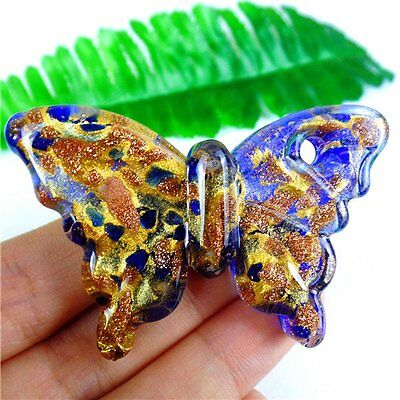 Unique Nice Blue&Gold Lampwork Glass Butterfly Pendant Bead 62*40*12mm AQ62171