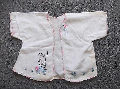 Vintage Children's White Open Front Embroidered Short Sleeve Flannel Top