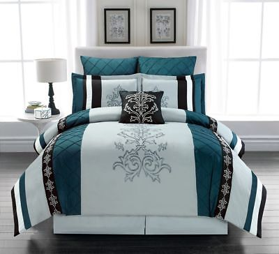 11 Piece Magee Teal/Gray Bed in a Bag Set