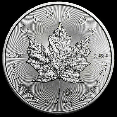 1 Troy oz .9999 Fine Silver 2015 Canadian Maple Leaf $5 Coin from Mint Tube 03