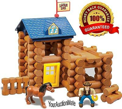 Lincoln Logs 83PC Horseshoe Hill Station Building Set Play Wood Logs Toy Figures