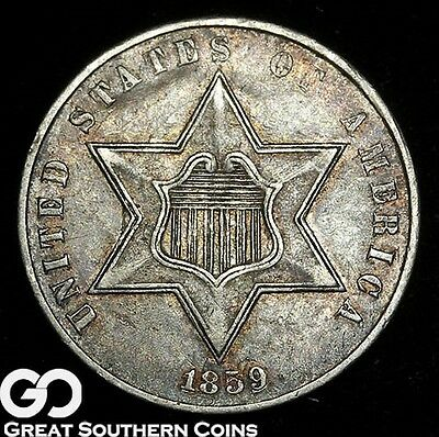 1859 Three Cent Silver Piece, Solid Choice AU++ Silver Type, ** Free Shipping!