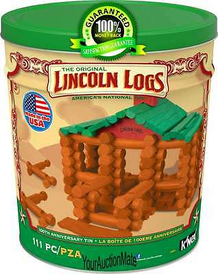 Lincoln Logs 100th Anniversary Collectible Tin Set 111 PC Wood Ages 3+ Storage