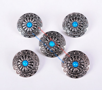 10Pc 30Mm Floral Turquoise Sliver Screw Back Saddles Conchos For Leathercraft