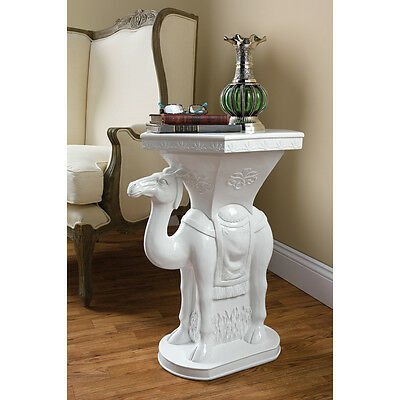Exotic Sultan's Camel Glossy White Sculptural Side Table Dromedary Night Stand