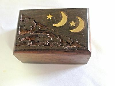 Wood Engraved  Box - Brass Moon and Star - Petite