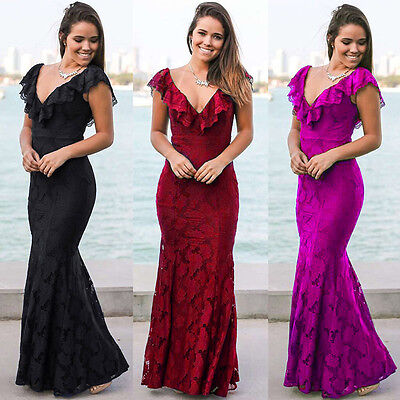 Women Lace Wedding Bridesmaid Long Evening Formal Party Ball Prom Cocktail Dress