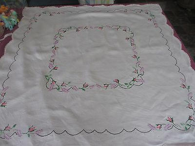 Vintage Hand embroidered with Lavender & Rose buds tablecloth gorgeous!!