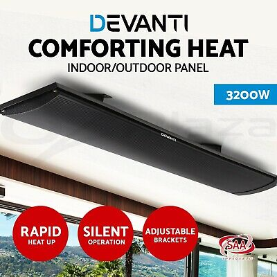 3200W Electric Radiant Heating Panel Outdoor Home Strip Heater Slimline Heat Bar