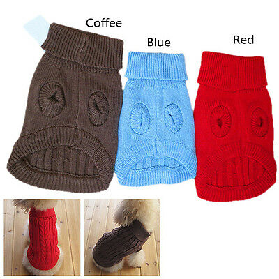 AU Pet Dog Warm Clothes Coat Apparel Jumper Sweater Puppy Cat Knitwear Costume