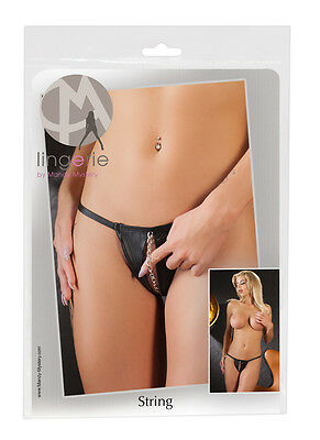 String Kette - Perizoma Sexy da donna in Wetlook Nero Catena Stimolante Davanti