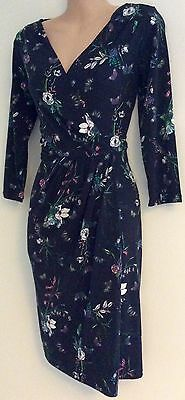 Oasis Ladies Navy Floral Wrap Knee Length Jersey Dress New Sizes 8 10 12 14 16