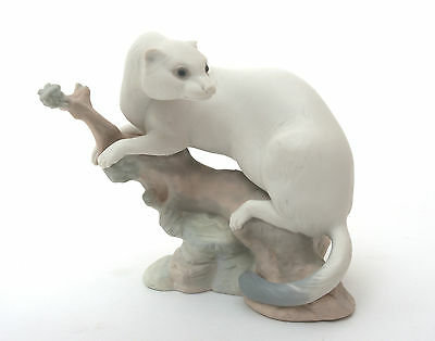 Nao Porcelain Figurine, White Ermine On Branch - Matte Finish