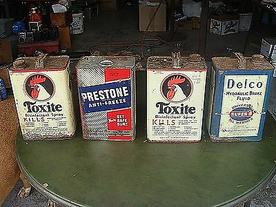 4 Vintage Antique Advertsing Delco Toxite Moraine Oil Gas Metal Tin  Can Lot