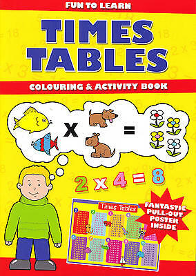 Learn the Times Tables with this Colouring & Activity Book with pull-out poster