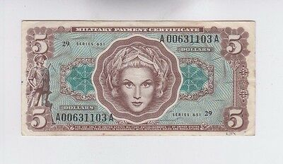 Military Payment Certificates  $5 series 651 vf small spot left edge