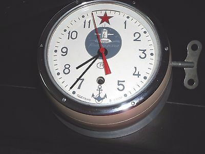 Russian Navy -Vintage- Working- Kauchqupckue Submarine Clock * Works Great *cccp
