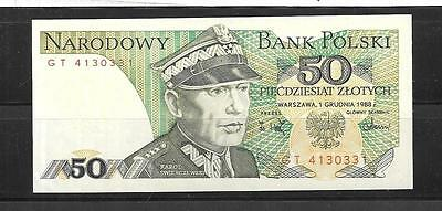 Poland #142C Unc-Mint 1988 50 Zlotych Old Banknote Bill Note Paper Money