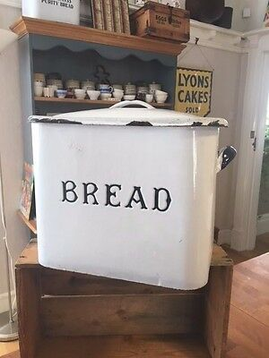 Vintage Traditional Small White Enamel Bread Bin – Blue Trim – Cute Size! –