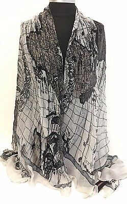 NEW Women Girl Chiffon Scarf Map Print Large Silk Long Soft Shawl Wrap, Gray