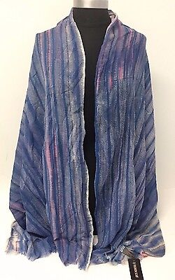 Fashion Women Chiffon Scarf Striped Print Silk Long Soft Scarf Shawl Wrap, Blue