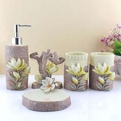 5Pcs 3D Magnolia Scalpture Bathroom Accessories Soap Holder Toothbrush Cup Sets