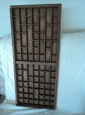Vintage wooden printer's tray letter press drawer display