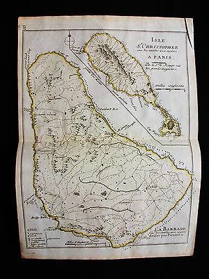 1748 LE ROUGE - rare map: CARIBBEAN, CENTRAL AMERICA, BARBADOS, SAINT KITTS...