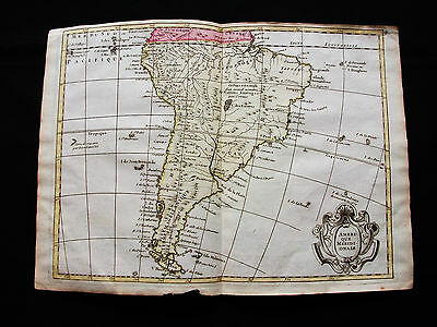 1748 LE ROUGE - rare map: SOUTH AMERICA, CHILE, COLOMBIA, ARGENTINA, PERU GUYANE