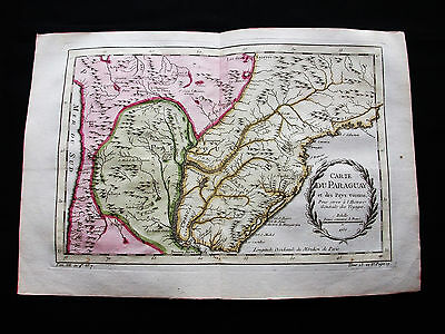1754 BELLIN / PREVOST - rare map: SOUTH AMERICA, PARAGUAY, ASUNCION, PERU, CHILE