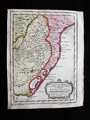1754 BELLIN / PREVOST - rare map of SOUTH AMERICA, BRAZIL, BRASIL, PARAGUAY...
