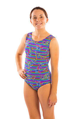 Girls Gymnastics Leotard Striped Butterfly  Dance  by Lizatards Adult Small