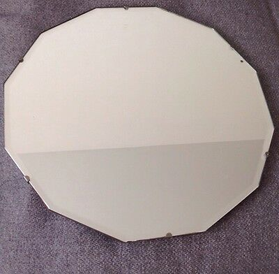 VINTAGE 1930s RETRO ART DECO 12 SIDED BEVELLED EDGE FRAMELESS WALL MIRROR