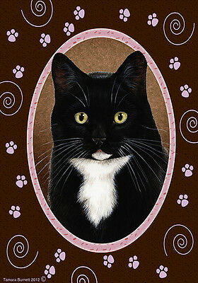 Garden Indoor/Outdoor Paws Flag - Black & White Tuxedo Cat 179501