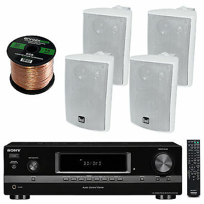 "Sony STRDH130 AM FM Stereo, Dual 4"" Indoor Outdoor Speakers, 50 FT Speaker Wire"