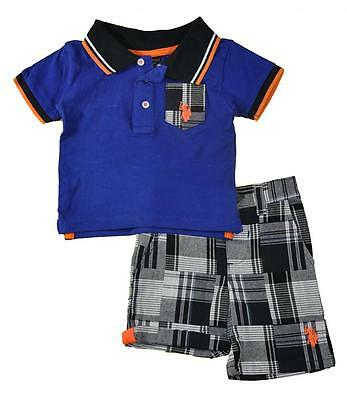 US Polo Assn Infant Boys Blue Polo 2pc Short Set Size 3/6M 6/9M 12M $32
