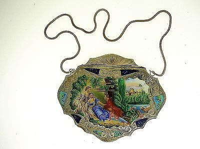 Antique Italian Silver Hand Painted Enameled Evening Bag/purse - Fallaci Firenze