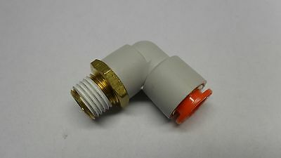 """SMC One-Touch Male Elbow KQ2L11-35S Air Push Fitting 1/4"""" NPT X 3/8"""" Hose"""